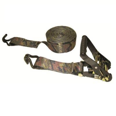 16 ft. x 2 in. x 10,000 lbs. Padded Camo Ratchet with Double J-Hooks