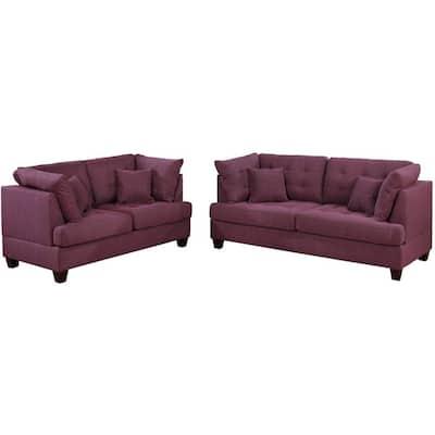 2-Piece Warm Purple Polyfiber Tufted Fabric Sofa and Loveseat Set
