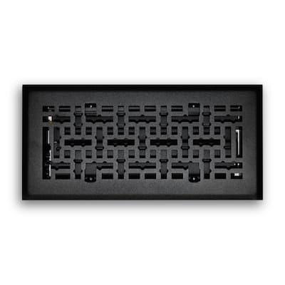 4 in. x 10 in. Modern Contempo Floor Diffuser in Matte Black