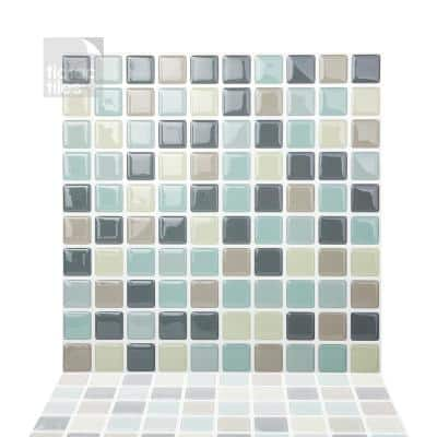Mosaic Mintgray 10 in. W x 10 in. H Peel and Stick Self-Adhesive Decorative Mosaic Wall Tile Backsplash (5-Tiles)