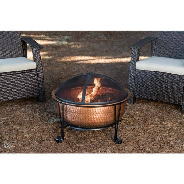 Fire Sense Palermo 26 In X 21 In Round Hammered Wood Burning Fire Pit In Copper With Fire Tool 62665 The Home Depot
