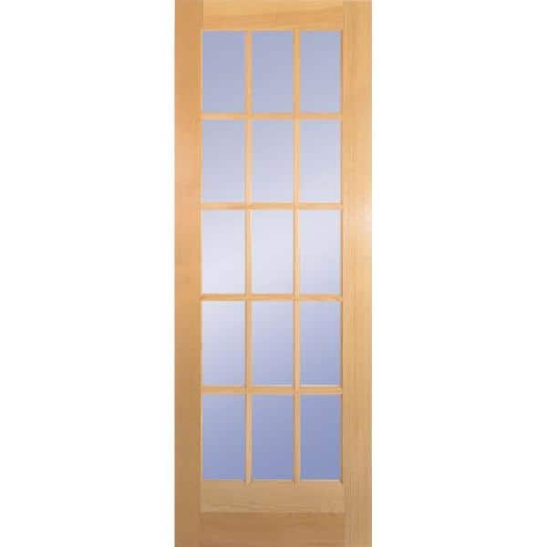 Builders Choice 30 In X 80 In 30 In Clear Pine Wood 15 Lite French Interior Door Slab Hdcp151526 The Home Depot