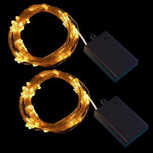 100 LED Bulbs Warm White Copper Multi-Strand Fairy String Lights Battery Operated (Set of 2)