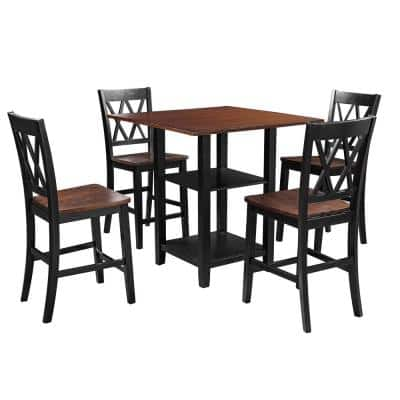 5-Piece Black Dining Set with Double Shelf and Matching Chairs for Family Use Dining Room Furniture Set