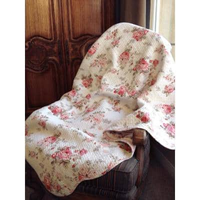Romantic Cottage Peachy Pink Peony Shabby Chic Chintz Floral Stripe Cotton Throw Blanket
