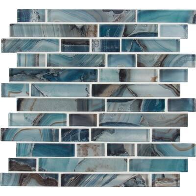 Night Sky Interlocking 11.81 in. x 11.81 in. x 8mm Glass Mesh-Mounted Mosaic Tile (9.7 sq. ft. / case)