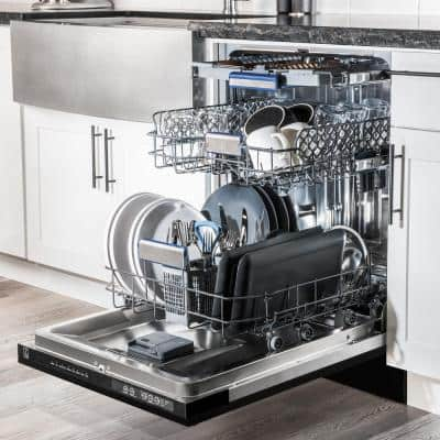 """24"""" Top Control Tall Tub Dishwasher 120-Volt in Black Matte with Stainless Steel Tub and 3rd Rack (DWV-BLM-24)"""