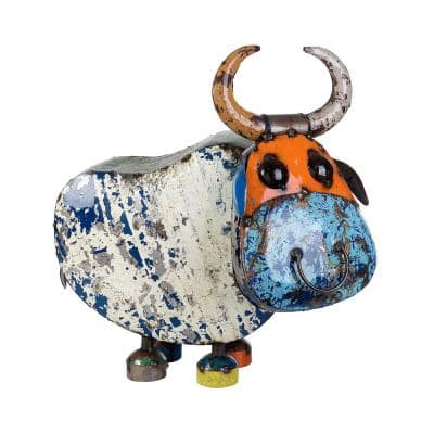 23in.Painted Recycled Iron Bull