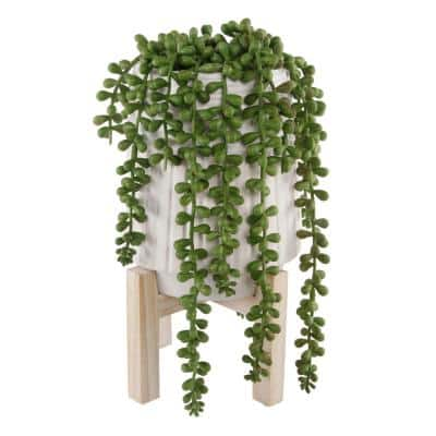 10 in. Faux String of Pearl Donkey Tail in White Ceramic Planter with Wood Stand