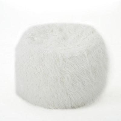 5 ft. White Long Faux Fur Bean Bag
