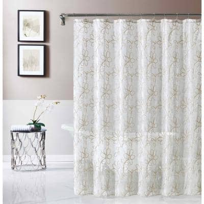 Rita 70 in. x 72 in. Linen Embroidered Shower Curtain