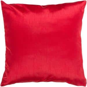 Visoko True Red Solid Polyester 18 in. x 18 in. Throw Pillow