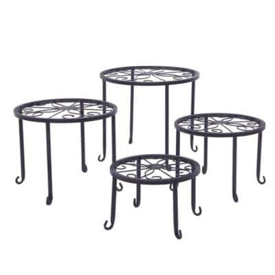Plant Stand 10 in. Black 10 in. H Round Pattern Metal Indoor Plant Stand 4-Tiers