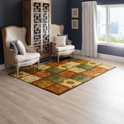 Artifact Panel Multi 4 ft. x 6 ft. Machine Washable Patchwork Area Rug