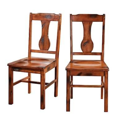 Rustic Wood Dining Chairs, Set of 2 - Dark Oak