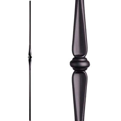 Round 44 in. x 0.625 in. Satin Black Single Knuckle Hollow Wrought Iron Baluster