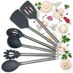 6-Piece Kitchen Gadget Utensils Set in Nylon with Hanging Hole Gray