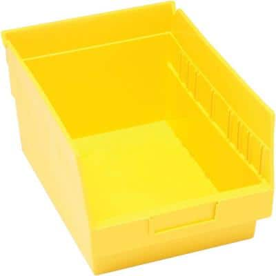 Store-More 6 in. Shelf 10 Qt. Storage Tote in Yellow (20-Pack)