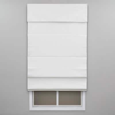 Cut-to-Width White Cordless Blackout Energy-Efficient Cotton Roman Shade 30 in. W x 72 in. L
