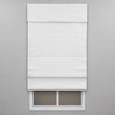 Cut-to-Width White Cordless Blackout Energy-Efficient Cotton Roman Shade 36 in. W x 72 in. L