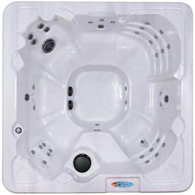 Cypress 8-Person 80-Stainless Steel Jet Standard Hot Tub w/Ozonator LED Light Polar Insulation Zone Control & Hard Cover