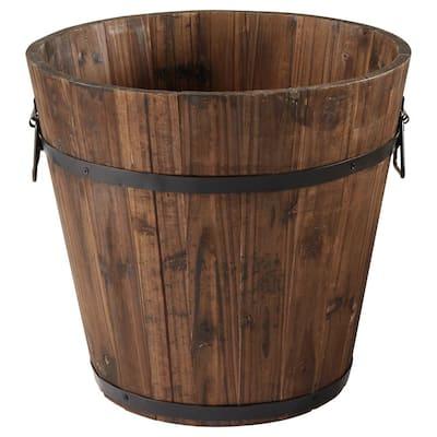 13.78 in. x 13.78 in. Burnt Wood Bucket Barrel
