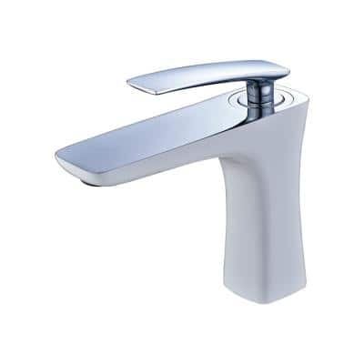 Single Hole Single Handle Deck Mounted Bathroom Faucet in White