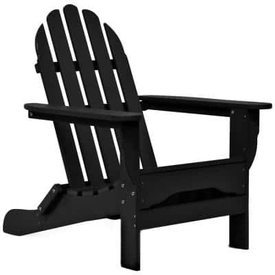 Icon Black Non-Folding Plastic Adirondack Chair