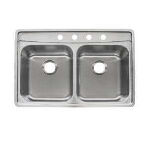 Evolution Fast-IN Mount Drop-in 33.5 in. 4-Hole 50/50 Double Basin Kitchen Sink in Stainless Steel