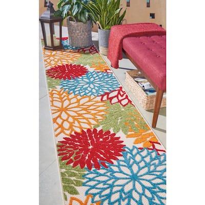 Aloha Green 2 ft. x 10 ft. Floral Modern Indoor/Outdoor Runner Rug