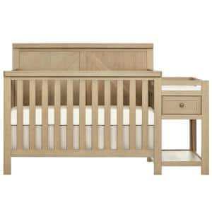 Meadowland 5-In-1 Sugar Cane Convertible Crib And Changer I Attached Changer I Removable Changing Pad