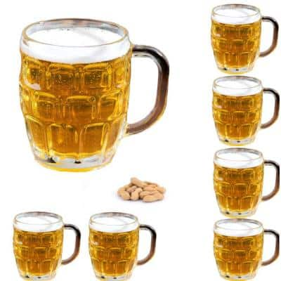 16 oz Clear Dimple Stein German Irish Beer Glass Mug With Large Handle (Set of 6)