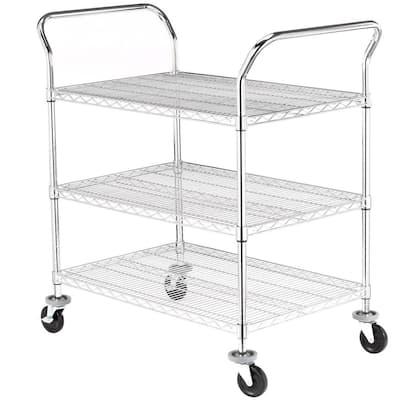 3-Tier 600 lb. Capacity NSF Chrome Wire Cart