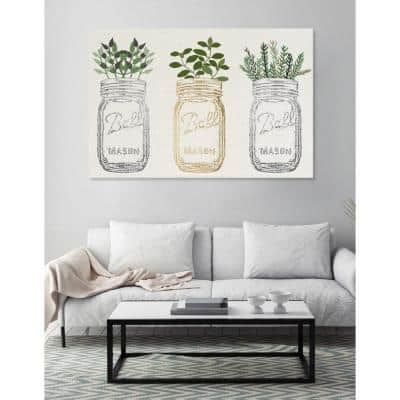 """36 in. H x 24 in. W """"Mason Jars and Plants Metallic"""" by """"The Oliver Gal Artist Co."""" Printed Framed Canvas Wall Art"""