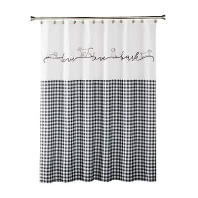 Farmhouse Dogs 72 in. Black Shower Curtain