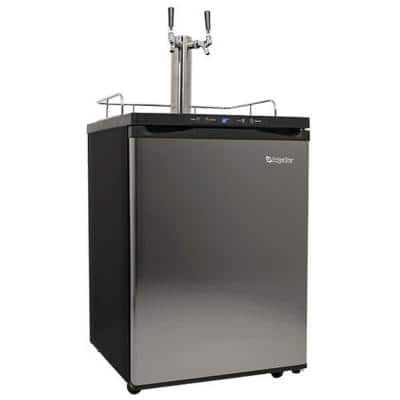 Double Tap 24 in. Full Size Beer Keg Dispenser with Digital Display in Stainless Steel