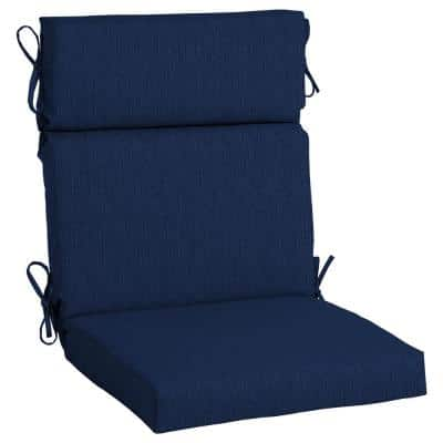 21.5 x 44 Sunbrella Spectrum Indigo High Back Outdoor Dining Chair Cushion