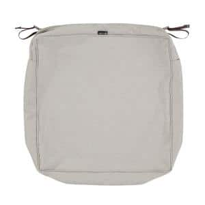 Montlake FadeSafe 21 in. W x 21 in. D x 5 in. H Square Patio Lounge Seat Cushion Slip Cover in Heather Grey
