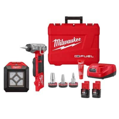 M12 FUEL Pro PEX Expansion Tool Kit with 1/2 in. to 1 in. ProPEX Expander Heads w/M12 1000 Lumens Rover LED Light