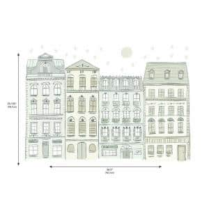 Illustrated Townhouses Peel and Stick Giant Wall Decals