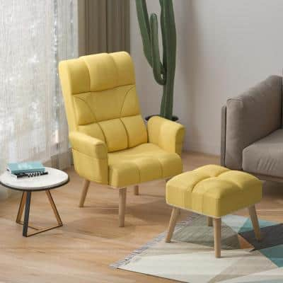 Glider and Ottoman Set Sofa Chair Armchair with Ottoman Fabric Lounge Chair with Wooden Legs Yellow