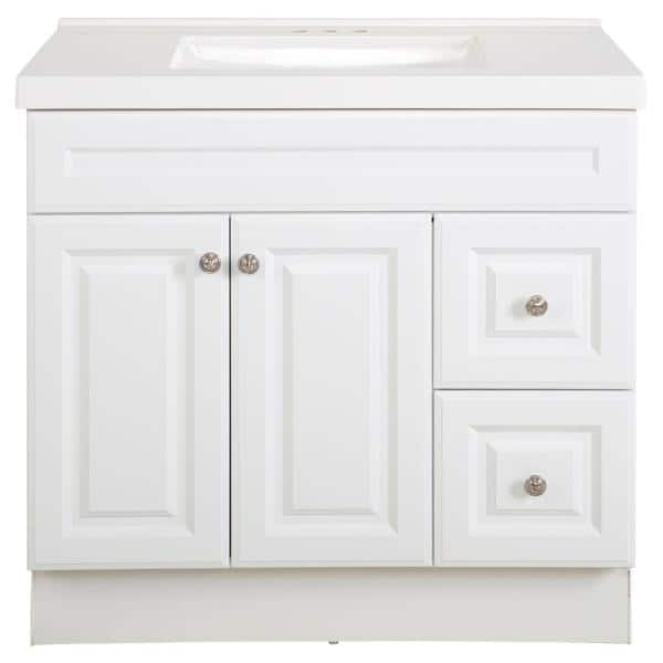 Glacier Bay Glensford 37 In W X 22 In D Bathroom Vanity In White With Cultured Marble Vanity Top In White With White Sink Gf36p2v18 Wh The Home Depot