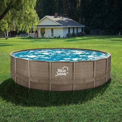 24 ft. Round 52 in. Deep Dark Cocoa Wicker Metal Frame Pool Package with Cover