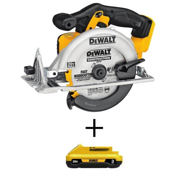 DEWALT 20-Volt MAX Lithium-Ion Cordless 6-1/2 in. Circular Saw with (1) 20-Volt Compact 3.0Ah Battery   The Home Depot
