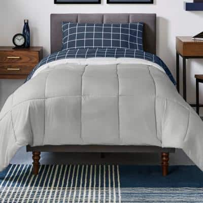 Gray Reversible Microfiber King Comforter