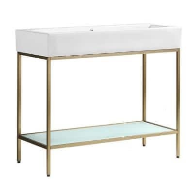 Pierre 40 in. W x 18.1 in. D Bath Vanity in Gold with Ceramic Vanity Top in White with White Basin