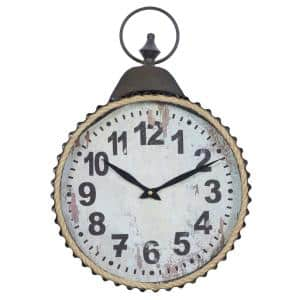 Rustic Distressed Round Analog Wall Clock