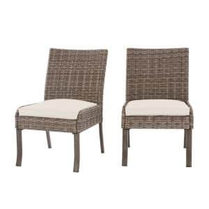 Windsor Brown Wicker Outdoor Patio Stationary Armless Dining Chair with CushionGuard Almond Tan Cushions (2-Pack)