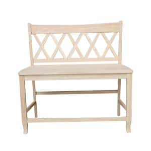 Unfinished Solid Wood 42 in. W Double X Back Counter Height Bench