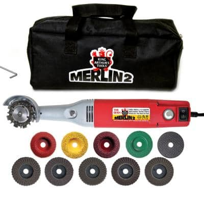 1 Amp 2 in. Corded Mini Angle Grinder Merlin2 Premium Carving Set